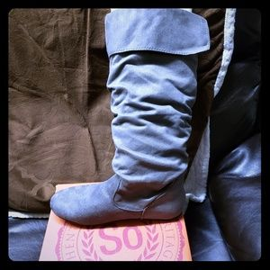 Gray suede SO boots